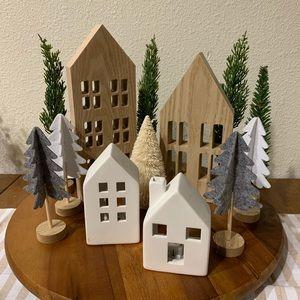 LED Ceramic Houses and Felt Wood Trees Decor